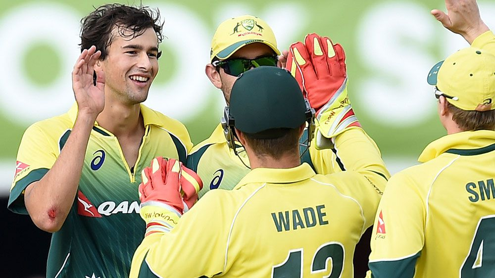 Ashton Agar (L) could yet play in Australia's T20 World Cup opener. (AAP-file)