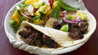 "Recipe: <a href=""http://kitchen.nine.com.au/2016/10/04/11/43/beef-cheek-tacos"" target=""_top"">Beef cheek tacos</a>"