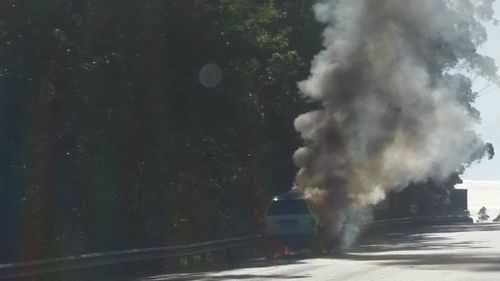 The blaze shut down the M1 at Wyong for more than an hour. (Supplied)