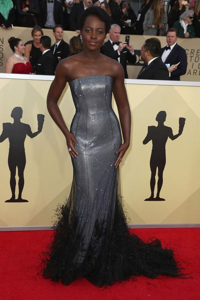 Actress Lupita Nyong'o in Ralph & Russo at the 2018 SAG Awards