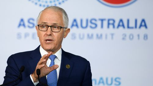 Malcolm Turnbull delivers an address at the New Colombo Plan Reception during the summit. (AAP)