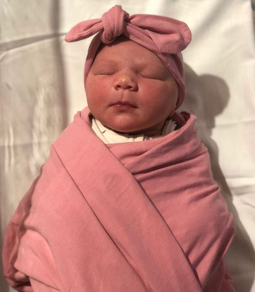 Baby Lexi was born by the side of the M4 at Blacktown yesterday.