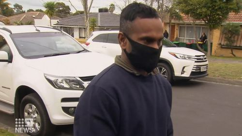 A distraught father has returned to the Melbourne home where his four-year-old son was killed in a house fire. Rithish Kirushnaneethan, four, died in the Dandenong blaze.