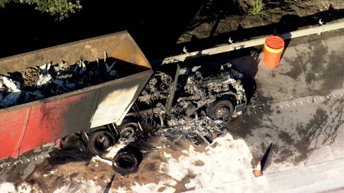 The truck's cab was heavily burned.
