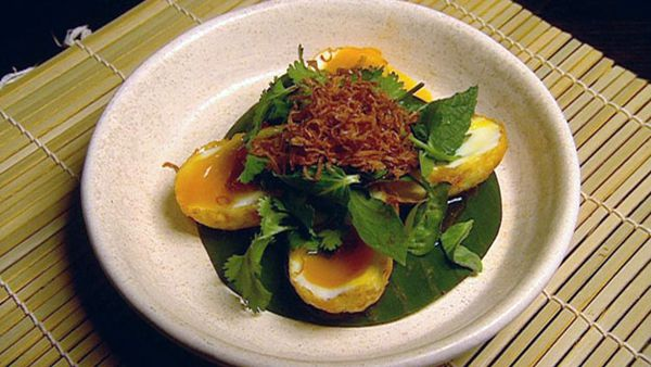 Son-in-law eggs with chilli caramel