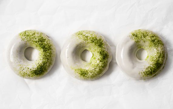 Baked matcha donuts with white chocolate glaze