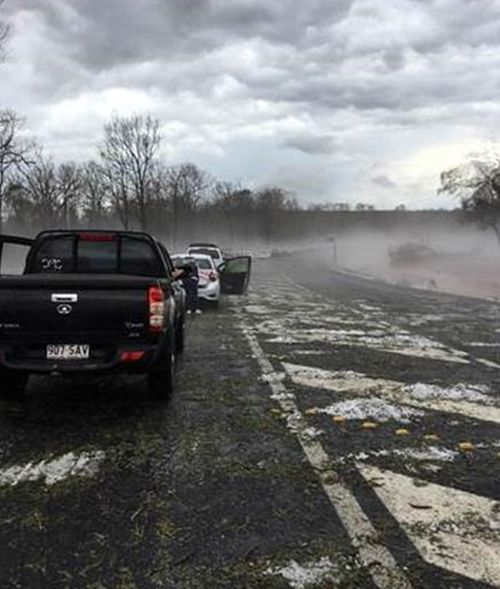 Ferocious hail storms have disrupted road travel in south-east Queensland.