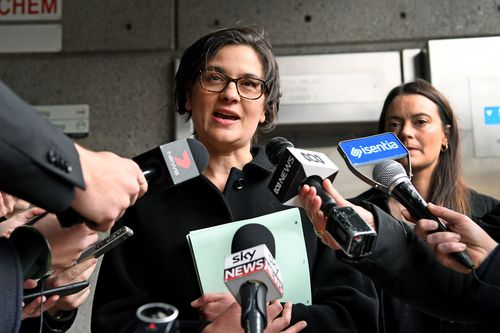 ennifer Kanis, Maurice Blackburn's head of social justice, out front of court today. (AAP)