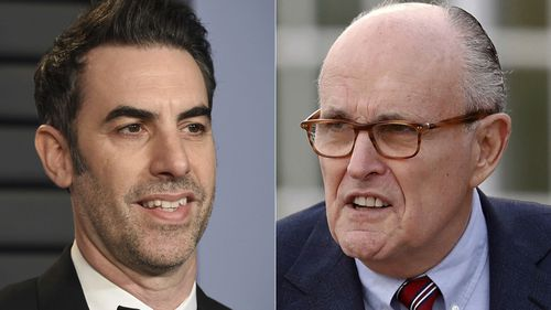 "Borat creator and actor Sacha Baron Cohen (left) and Rudy Giuliani who appears in a scene in the new ""Borat"" film. The scene, which was filmed in a New York hotel room in July, resulted in Giuliani calling police."