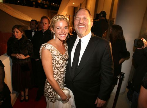 Sienna Miller and Harvey Weinstein during The Weinstein Co. Golden Globe After Party at The Beverly Hilton Hotel in Beverly Hills, California, United States. (Photo by Jason Merritt/FilmMagic)
