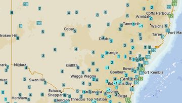 Temperatures across New South Wales dipped on Monday.