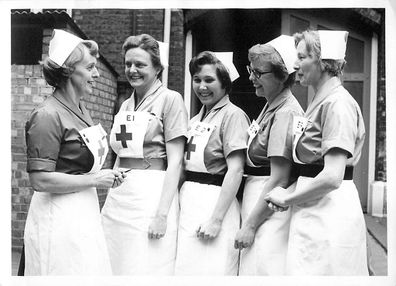 Valerie Middleton pictured with fellow Red Cross volunteers.