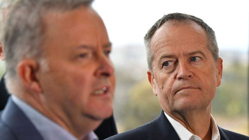 Anthony Albanese and Bill Shorten together on the election campaign trail.
