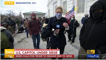 Amelia Adams covering the Capitol Riots