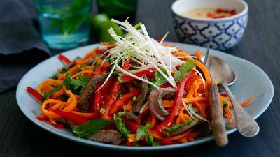 "Recipe: <a href=""http://kitchen.nine.com.au/2017/03/08/14/12/jacqueline-alwills-tamari-beef-and-carrot-noodle-salad"" target=""_top"">Jacqueline Alwill's tamari beef and carrot noodle salad</a>"