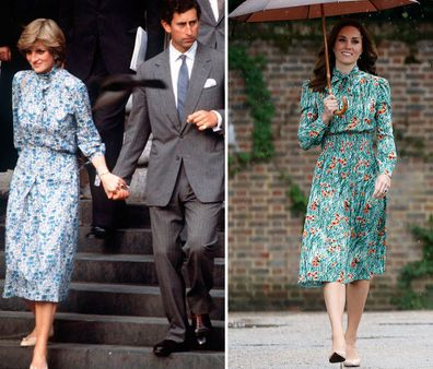 Princess Diana and Kate Middleton Duchess of Cambridge style moments - Lady Diana Spencer and Prince Charles leave St Paul's Cathedral after their wedding rehearsal, Kate at memorial for 20th anniversary of Diana's death at Kensington Palace
