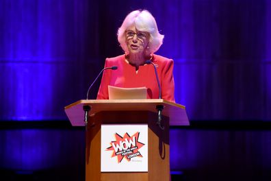 Camilla, Duchess of Cornwall speaks at the Grand Opening Session of the WOW Festival at Southbank Centre on March 06, 2020 in London, England. (Photo by Kate Green/Getty Images)