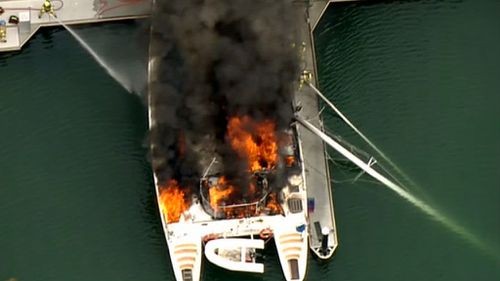 The 40 foot boat was gutted by fire. (9NEWS)