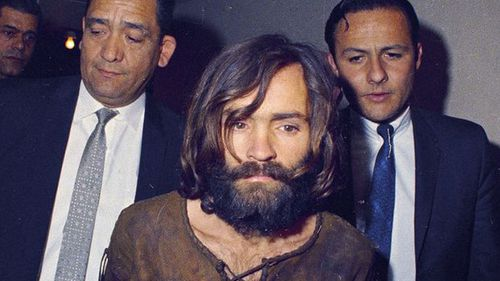 Charles Manson at his trial in  1969 in connection with the Sharon Tate murder case. (AP).