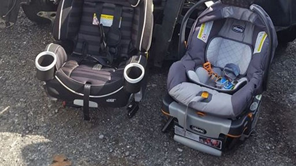 Safety first: one mum's viral photo of intact baby seats next to her damaged car is sobering. Image: Facebook