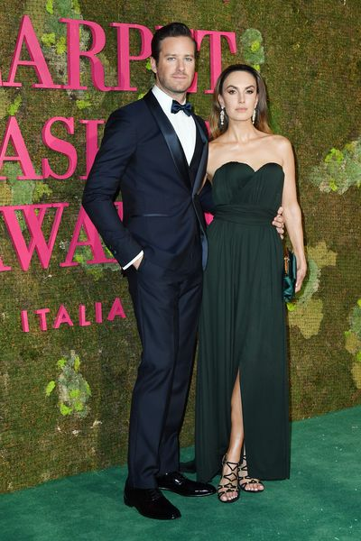 Actor Armie Hammer and his partnerElizabeth Chambers looked dapper on the green carpet.