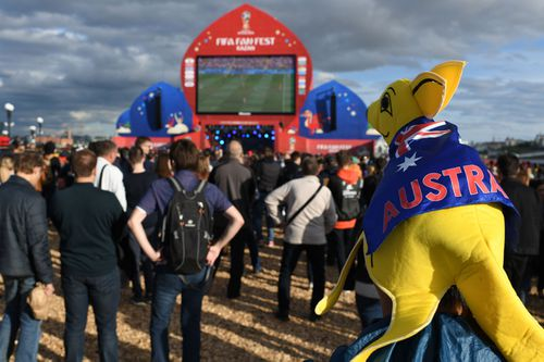 A number of Aussie fans are watching the soccer live in Russia - but there are ways to see it at home too. (AAP)