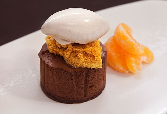 Scott Pickett's chocolate mousse with corn flake ice-cream