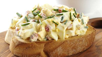 """Recipe: <a href=""""http://kitchen.nine.com.au/2017/06/22/09/32/russian-egg-salad"""" target=""""_top"""">Russian egg salad on rye</a><br /> <br /> More: <a href=""""http://kitchen.nine.com.au/2016/06/06/20/13/eggs-for-lunch"""" target=""""_top"""">egg lunches</a>"""