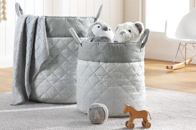 "<a href=""http://shop.davidjones.com.au/djs/ProductDisplay?catalogId=10051&amp;productId=11849015&amp;langId=-1&amp;storeId=10051"" target=""_blank"">Sheridan Baby Stanlee Soft Nursery Storage, from $49.95.</a>"