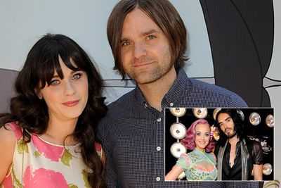 Russell Brand and Katy Perry dominated the headlines after announcing their split on December 30, 2011, but the first celebrity couple to part ways in 2012 was Zooey Deschanel and her husband of two years, singer Ben Gibbard.