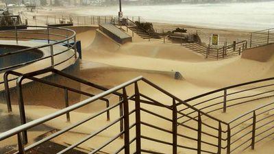 Bondi Beach skate park looking more like a snowboarder's playground. (Twitter - @busybeachnet)
