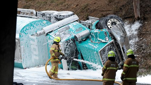 The petrol tanker was carrying about 60,000L of fuel. (9NEWS)