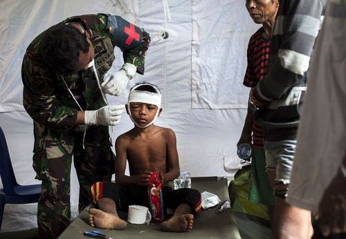 The death toll from a devastating earthquake that struck Indonesia this week may have shot above 380. Picture: AAP.