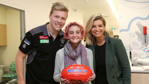 Co-host of The Footy Show Rebecca Maddern joined AFL players and kids at Monash Children's Hospital to launch the event. (Supplied)