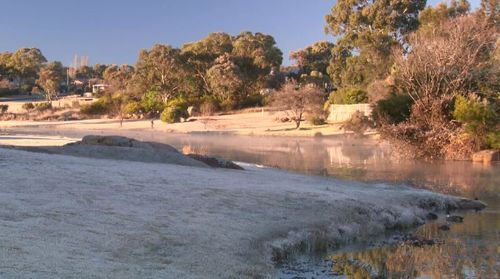 The icy conditions come just a day after records were broken around New South Wales due to the wintry chill. Picture: 9NEWS.
