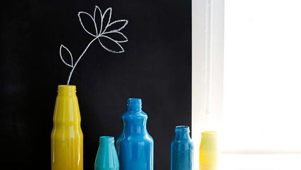 Bespoke painted bottle vases