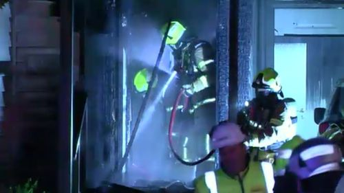 The blaze was controlled in just under an hour. Police want to speak to this person. Picture: 9NEWS