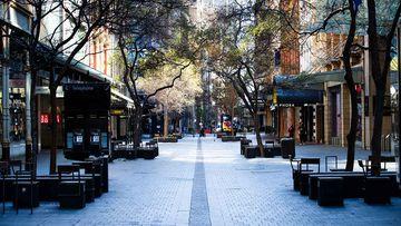 An empty Pitt Street in Sydney's CBD.
