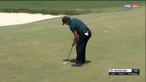 Mickelson, who turns 48 today, missed a bogey putt on the 13th before running the ball and hitting it again as it continued to roll away from the hole. Picture: Foxtel