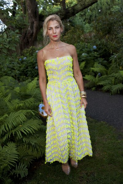 Jessica Seinfeld in Carolina Herrera at the Net-a-porter x GOOD + Foundation summer 2018 dinner at the Seinfeld's estate.<br> <br> <br>