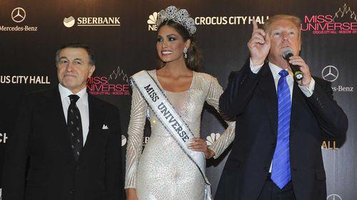 Aras Agalarov, Miss Universe 2013 Gabriela Isler, from Venezuela and Donald Trump in Russia in 2013. (AAP)