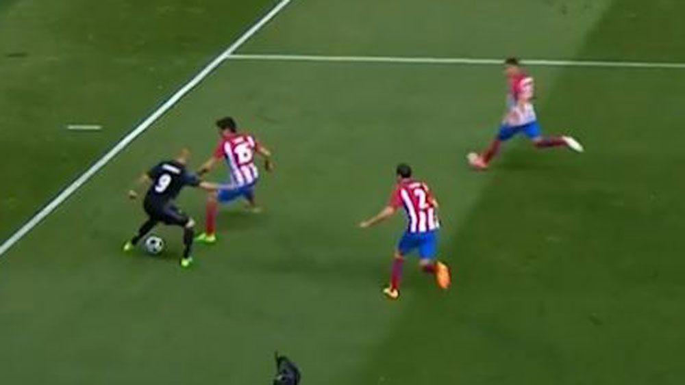 Real Madrid striker Karim Benzema beats three Atletico defenders in Champions League semi-final