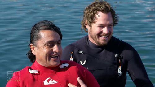 Big wave surfers Ross Clarke-Jones and Mick Corbett. (60 Minutes)