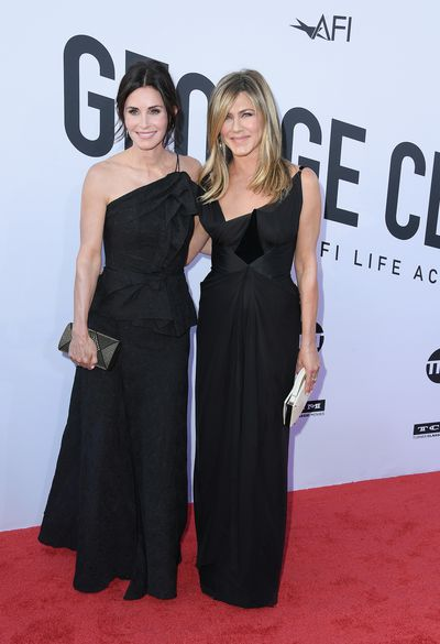 Actress Courteney Cox in Roland Mouret with best friend Jennifer Aniston