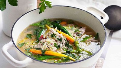 "Recipe: <a href=""http://kitchen.nine.com.au/2016/05/16/15/44/spring-chicken-soup"" target=""_top"">Spring chicken soup</a>"