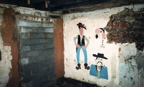 The basement of 25 Cromwell Street - which became known as 'The House of Horrors' for the murder spree carried out by Fred and Rosemary West.