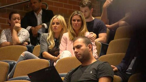 Candice Warner is consoled by PR queen Roxy Jacenko during husband David's press conference at the SCG yesterday. (9NEWS)