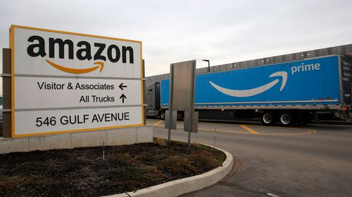 The Amazon distribution centre in Staten Island, New York.