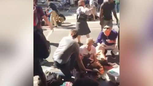 Chaos on Flinders Street.