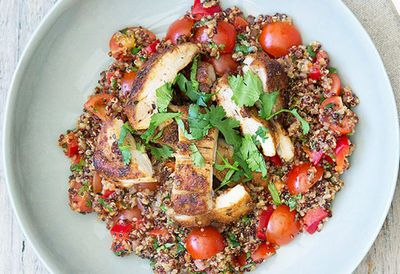 """Recipe:<a href=""""http://kitchen.nine.com.au/2016/05/04/15/35/nadia-lims-mexican-chicken-with-spiced-vegetable-coriander-and-lime-quinoa"""" target=""""_top"""" draggable=""""false"""">Nadia Lim's Mexican chicken with spiced vegetable, coriander and lime quinoa<br> </a>"""